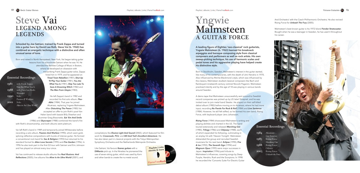 Rock Guitar inside page 2, Flame Tree Music, highly illustrated book, classic rock bands, indie and alternative music